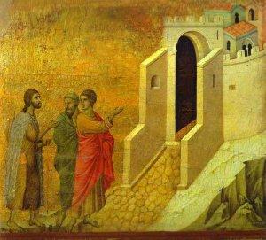 Duccio di Buoninsegna. La route d'Emmaus. 1308 sur panneau de bois. Museo dell Opera del Duomo Sienne Italie
