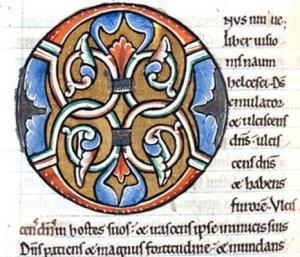 Lettre orné en O - Bible du XIIe siècle - DR