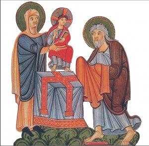 La Présentation de Jésus au Temple - enluminure romane XIe ou XIIe siècle | DR