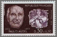 timbre France 1968 - Portrait effigie de Paul Claudel (1868-1955)