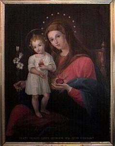 La Vierge et l'enfant Jésus arborant chacun un sacré coeur