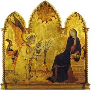 Simone Martini Annonciation détail 1333 panneau de bois Galleria degli Uffizi Florence Italie