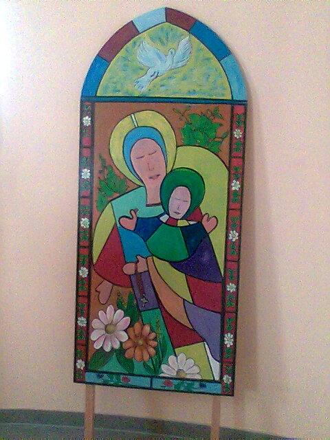 Marie et l'Enfant - chapelle, hôpital d'Yssingeaux 43 ; tableau créé par ses résidents