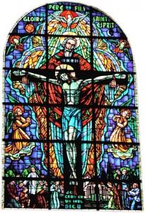 La Trinité - vitrail central de l'église de MORTCERF (Seine-et-Marne - FRANCE)