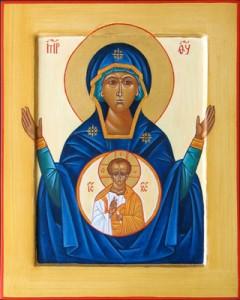 Vierge orante des catacombes et son Fils en médaillon | DR