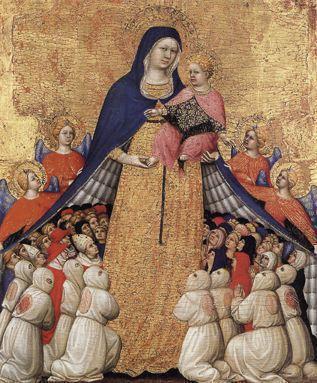 Vierge de miséricorde ( début XVe S.) Pietro di Domenico di Montepulciano - Musée du Petit palais - Avignon. La Vierge abrite des chrétiens de toutes conditions sous son manteau. Au premier plan une confrérie de flagellants.