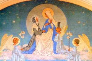 Première Apparition de Notre Dame à Catherine Labouré - fresque au dessus de l'autel - rue du Bac Paris