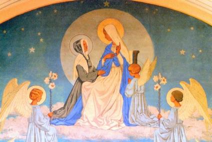 fresque de la 1ère apparition - chœur de la chapelle  rue du Bac