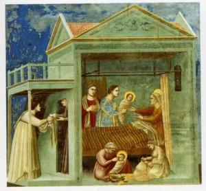Giotto, Naissance de la Vierge, 1303-1306, fresque, Eglise de l'Arena de Padoue