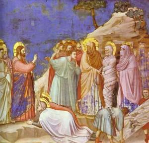 Giotto La résurrection de Lazare 1304-1306 Fresque Capella degli Scrovegni Padoue Italie