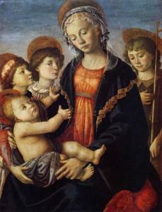 Botticelli - La Vierge et l'Enfant avec deux anges et Jean-Baptiste - vers 1470 - Galleria dell Accademia Florence