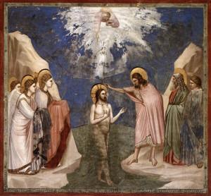 Baptême du Christ; GIOTTO; 1305 fresque, chapelle des Scrovegni, Padoue