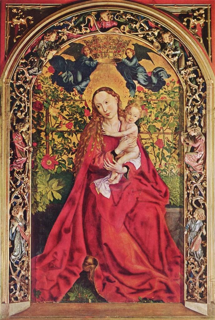 La Vierge au Buisson de Roses - retable sur bois 1473 - de Martin Schongauer - cathédrale de Colmar