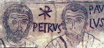 Pierre et Paul, d'une gravure dans une catacombe de Rome IVe siècle