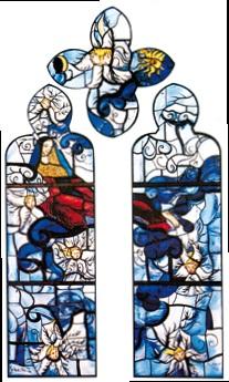 Assomption - vitrail de Notre-Dame de Talant - Gérard Garouste