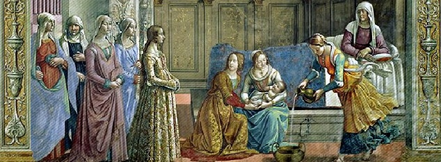 Ghirlandaio, Naissance de la Vierge, fresque, Cappella Tornabuoni, Santa Maria Novella, Florence 1485-1490