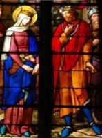 Vitrail du miracle des roses - Ste Elisabeth de Hongrie - église saint Nizier de Lyon