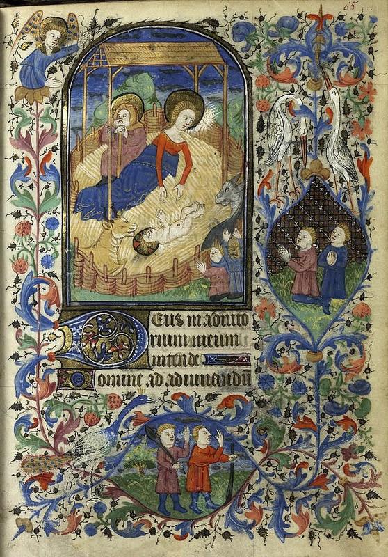 Nativité, Livre d'Heures de la famille d'Epinay, 1430-1450, miniature mi-page, artiste inconnu, Rennes MS0033, folio F.65. BIB2007.1030-016.