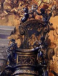La chaire de saint Pierre, dans son reliquaire construit par le Bernin en la basilique Saint-Pierre de Rome