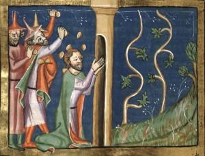 Naboth lapidé devant sa vigne - extrait de la Chronique universelle de Rodolphe d'Ems. Artiste anonyme (entre 1350 et 1375)
