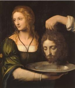 Bernardino Luini - Milan vers 1485-1532 - tête de Jean-Baptiste présentée par Salomé, fille d'Hérodiade