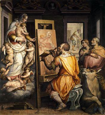 Saint Luc peignant l'apparition de la Vierge - Vasari Giorgio (1511-1574) - fresque - Florence - Santissima Annun