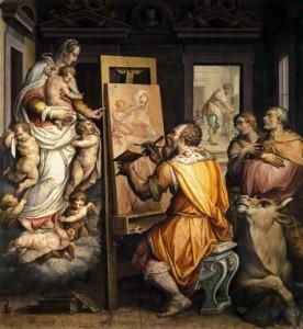 Saint Luc peignant Jésus et la Vierge Marie