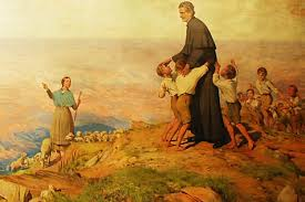 Don Bosco et les enfants peinture de Ramon Bofarull