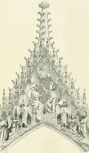 LE COURONNEMENT DE LA VIERGE - Portail de !a cathédrale de Reims.