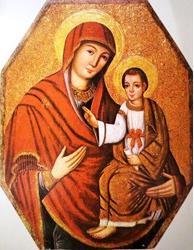 Une antique icône de Notre Dame, Porte de la Miséricorde, du sanctuaire gréco-catholique de la Transfiguration du Seigneur, de Jaroslaw, au sud-est de la Pologne
