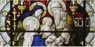 Présentation de Jésus au Temple - détail du vitrail - Honington Angleterre