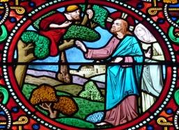 Zachée et Jésus vitrail de l'église Saint Pierre de Neuilly
