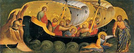 Le Christ sauvant l'apôtre Pierre de la noyade, par Lorenzo Veneziano 1370
