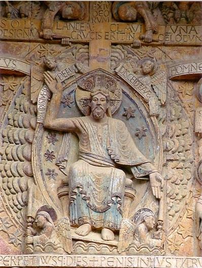 Le Christ - tympan du Jugement dernier - abbatiale sainte Foy - Conques (XIIe s)