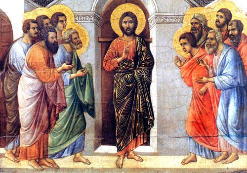 Jésus ressuscité avec ses disciples