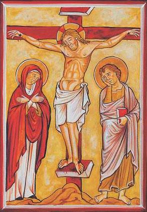 Le Christ crucifié, sa mère et le disciple Jean l'évangéliste