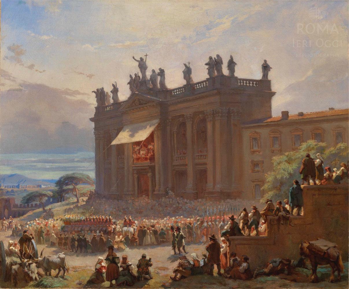 Bénédiction du Pape Pie IX de la logia de la Basilique Saint Jean du Latran - Bonnet 1846