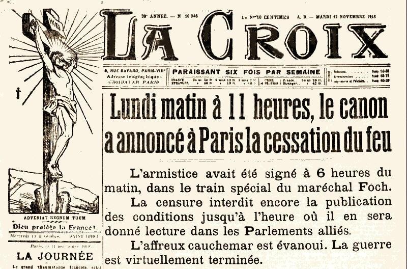 Journal La Croix 12 novembre 1918
