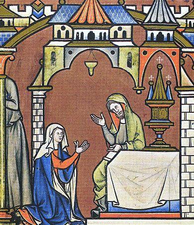Anne prie pour avoir un enfant (1250 environ), miniature de la Bible de Maciejowski