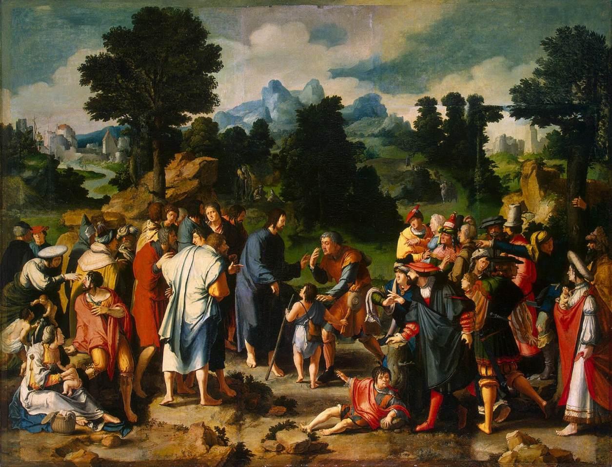 Lucas van Leyden - Jésus guérissant l'aveugle - intérieur d'un triptyque 1531