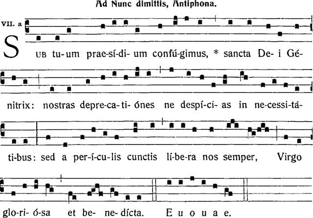 antiphone marial -sub tuum praeasidium confugimus