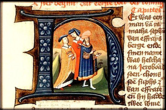 Enluminure du moyen-âge : Elkana et ses deux femmes.