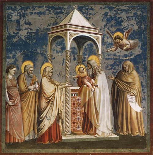 Présentation au Temple Giotto, 1303-1306 - fresque, chapelle Scrovegni (ou église de l'Arena) Padoue