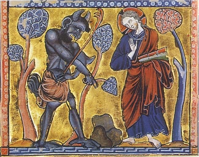 La Première Tentation du Christ au désert – Psautier enluminé, vers 1222, Copenhague Det kongelige Bibliote