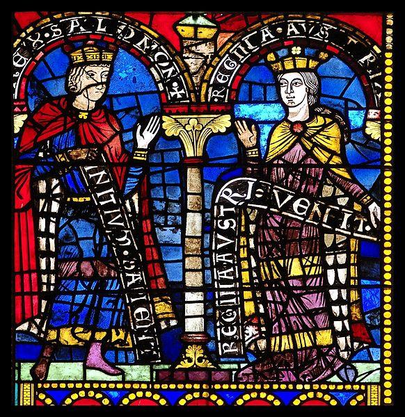 Salomon et la reine de Saba, vitrail roman, Cathédrale de Strasbourg