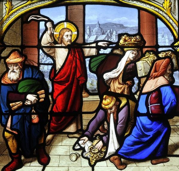 Jésus chasse les marchands du Temple - vitrail du XIXe siècle -atelier LORIN - église Saint-Aignan Chartres