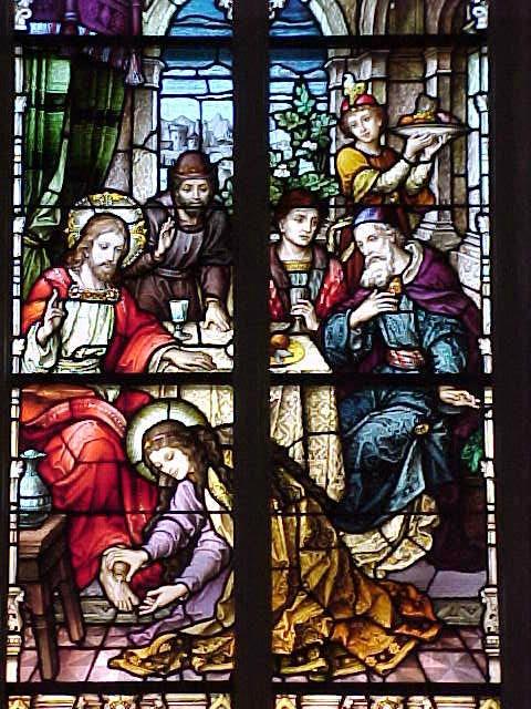 Marie verse le parfum sur les pieds de Jésus, vitrail des studios de Meyer, Munich 1899