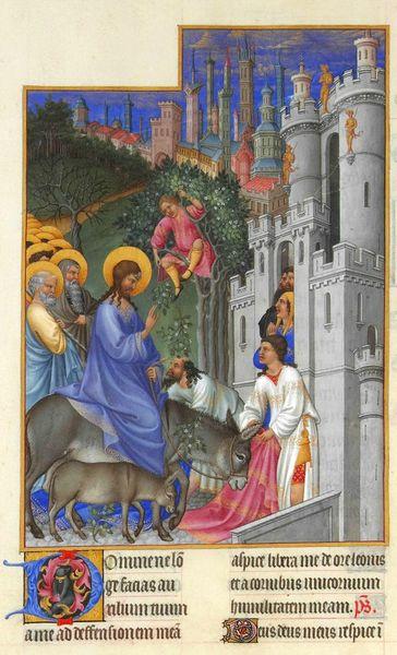 Les Très Riches Heures du Duc de Berry - Entrée de Jésus à Jérusalem - Limbourg brothers - 1416