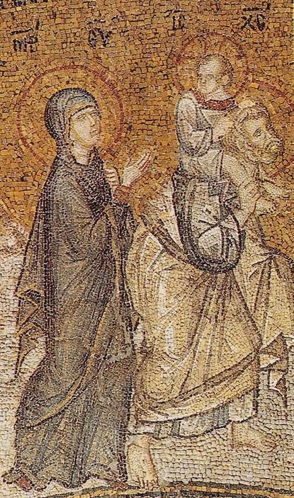 Sainte Famille retour d'Égypte - détail d'une mosaïque du début du XIVe siècle de l'église Saint-Sauveur in Chora à Istanbul