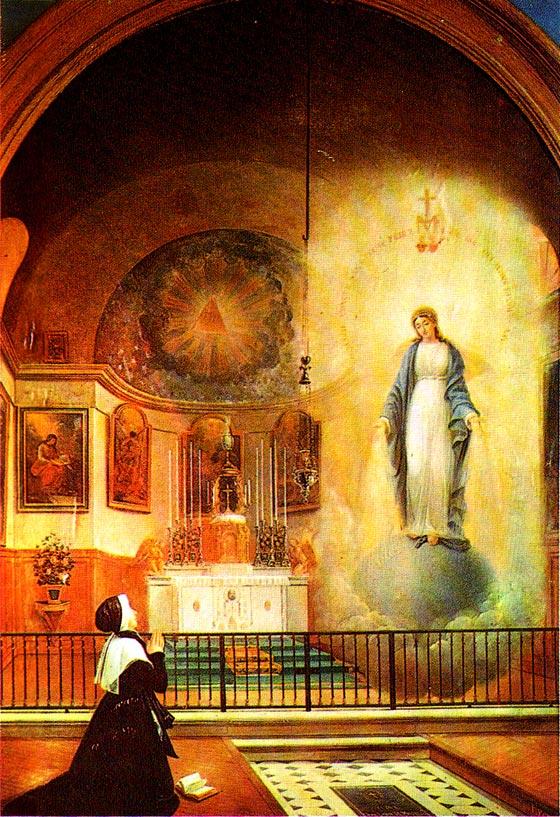 apparition de la Vierge aux rayons à Sœur Catherine